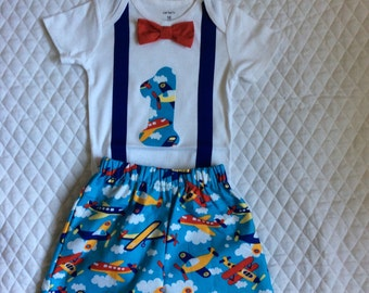 Boys 1st birthday    Airplanes outfit,cake smash  pants set,18 months.Ready to ship