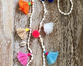 Santorini Shell Necklace - Threaded Mini-Shells with Bright Neon Mini-Tassels