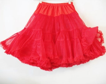 Vintage Malco Modes Red Double Ruffle Square Dance Swing Dance  Rockabilly  Slip Petticoat Medium