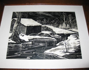 """ANTIQUE SCRATCHBOARD DRAWING Original Drawing Rustic Dark Wood Frame 13 1/2 x 16 1/2"""" Matted In White Signed Ranger Barn By Stream With Snow"""