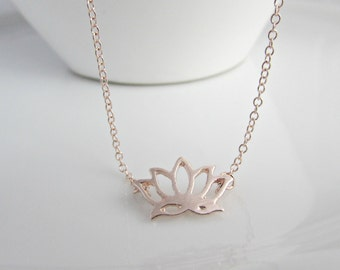 Rose Gold Lotus Flower Necklace, Bridesmaid Gifts, Gifts for Bridesmaid, Bridesmaid Necklace, Flower Jewellery, Gift for Girls, BFF Gifts