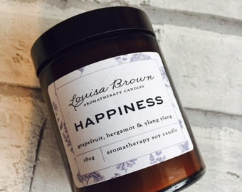 Happiness aromatherapy Soy candle, happiness candle, soy candle, aromatherapy candle