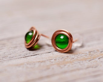 wirewrapped stud emerald green earrings copper boho stud earrings gifts for her under 10 minimalist earrings beaded earrings rustic earrings