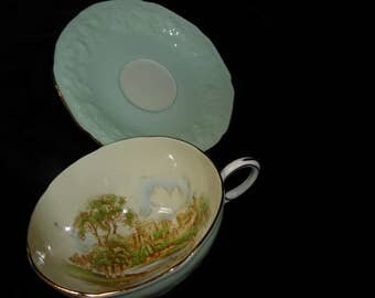 RARE Vintage Paragon WINDSOR CASTLE Tea Cup and Saucer Circa 1938 - 1940s