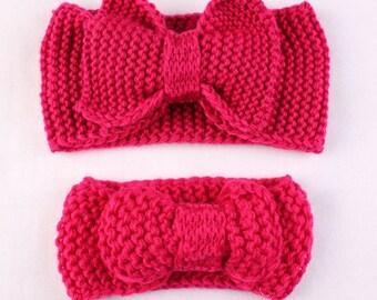 Mom and Me Knit Headbands Big Bow Headband Knit Earwarmer Baby Headband Toddler Headband  Listed Price is for 2 Headbands