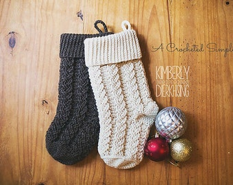 Crochet Pattern: Braided Cables Christmas Stocking