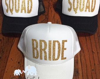Bride squad trucker hats in white and black done in glitter gold htv bachelorette party