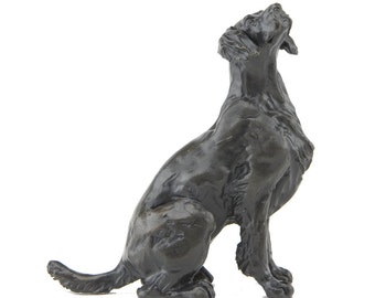 Foundry Bronze Sitting Springer Spaniel Sculpture by Sue Maclaurin (Solid Bronze).  Limited Edition 250. Beautifully gift boxed.