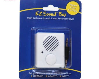 EZSound Box - Front Play Button for Personal Messages, Stuffed Toys, Hobbies, Craft Projects, etc - 200 seconds - Rerecordable - SEE VIDEO -