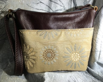 Dark chocolate brown leather and earth toned fabric bag