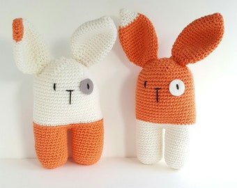 Baby handmade orange rattle amigurumi rabbit