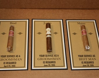 Personalized Groomsman, Best Man, Usher Cigar Card - Will you be my - Your Service As -  2 Background Colors ~Personalized Bridal Party Card