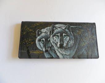 Lee Sands Wolf Wolves Checkbook Card Wallet