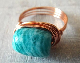 Amazonite Ring - Copper Ring - Teal Ring - Amazonite Jewelry -  Copper Wire Ring - Stone Ring -  Blue Stone Ring - Green Stone Ring - Wire