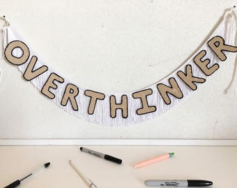 Overthinker FUN CULT Fringe Banner | wall hanging banner, banner sign, dorm room decor, office wall decor, glitter fringe banner, funny sign