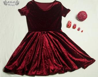 Red velvet dress. Velvet clothing. Red dress. Grunge dress. 90s dress. Retro dress. Retro fashion. Skater dress. Retro clothing. Size M