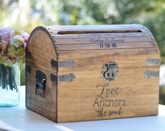 Love anchors the soul beach Wedding Card Box With Slot, nautical card box, destination Wedding  Memory Chest, Custom Keepsake Trunk