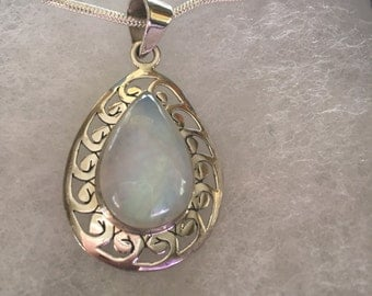 Blue Fire Moonstone Pendant Necklace in 925 Sterling Silver Design w Snake Chain