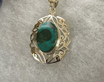 Malachite in Chrysocolla Gemstone Pendant in Sterling SIlver Design