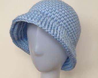 SALE Chemo Cap Crochet Blue Cloche Hat Womens Brim Chemo Hat Spring Hat Summer hat  Ready to Ship