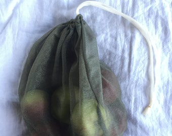 four small green produce bags // made from repurposed tulle/nylon