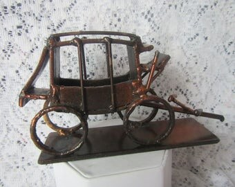 Copper Colored Metal Stage Coach , Stagecoach Paper weight, statue