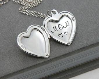 Mom Necklace, Mother Necklace, Love you Mom Locket, Heart Silver Locket Pendant, Locket Necklace, Gift for Mother, Mom Necklace, Mom Gift