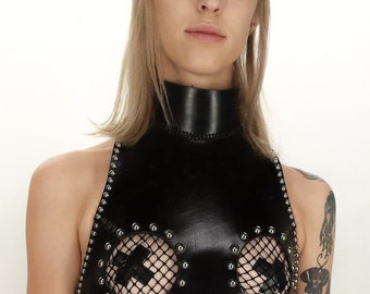 Studded Open Bust Leather Dungeon Harness. Sub Dom BDSM Fetish Couture High Fashion Bondage Style Seduction Open Bust Tease Halter