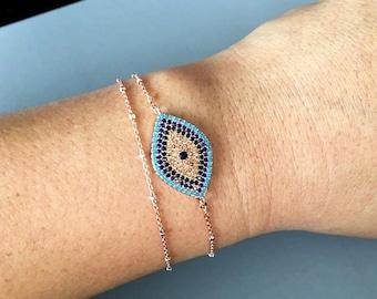 Large Evil Eye bracelet, Protection Bracelet, layered bracelet, Rose gold satellite chain, Evil Eye Jewelry, celebrity inspired jewelry
