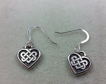 Celtic Knot Heart Saint Patricks Day Earrings