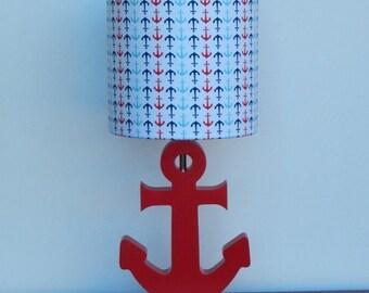 Small Handmade Multi-Colored Anchor/Nautical Theme Drum Lamp Shade