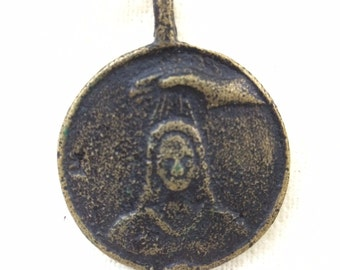 Large Vintage bronze Incantations Occult Heavy Brass Amulet, Anting-Anting, Talisman