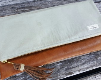 Leather Clutch, Mint Green, Suede, Hand Bags, Vegan Clutch Bag, Fold Over Clutch, Leather Purse with Tassel