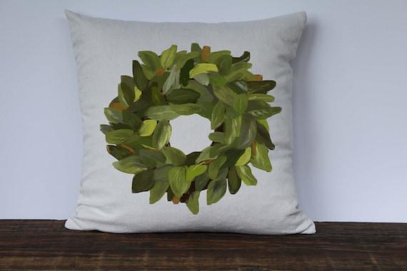 Farmhouse Magnolia Wreath Pillow Cover Decorative Pillow