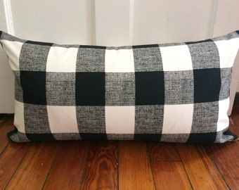 Plaid Pillow Cover, 14''x26'' Black and White Buffalo Pillow Cover, Decorative Plaid Pillow Cover