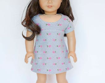 American Girl doll sized tri-city knit dress - grey floral with polkadots