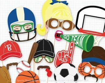 Sports Party Photo Booth Props, Sporty Photobooth, Basketball, Baseball, Football, Soccer, Birthday Party, Championship Team, Game day Fan