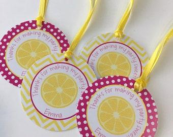 Lemonade Party Favor Tags - 1st Birthday Thank You Tags  - Lemonade Party Birthday Party - Set of 12
