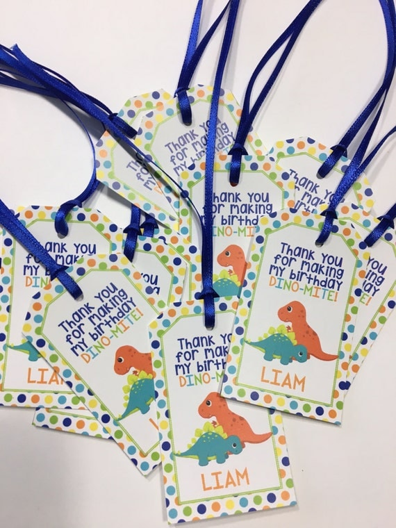 Dinosaur Birthday Party Personalized Favor Tags Thank You Tags