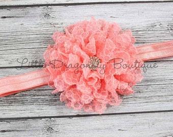 RTS Coral lace headband {Coral headband, lace headband, vintage headband, baby headband}