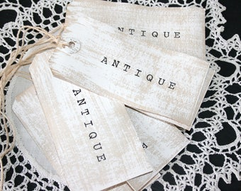 "ANTIQUE Gift Tags // Large Shabby Chic Tags // Cottage Style Gift Tags // Set of 6 Gift Tags //  Whitewashed ""Antique"" tags"