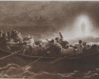 Christ Walking on the Sea Etching by Herbert Bourne 1847