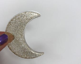 Glitter Resin Crescent Moon Large
