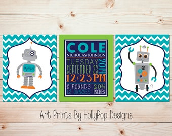 Robot nursery art Kids room decor Birth stats print Boys room art Boy nursery prints Personalized baby boy art Turquoise nursery decor #1691