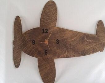 Airplane Clock, Dark Stain Aircraft Clock, Wood Airplane, Wood Aircraft Clock, Airplane Decor