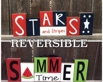 Reversible Summer & 4th of July blocks-Summer time reverses with Stars and Stripes-Summer wood blocks