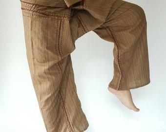 TCZ0042 Hand Sewing Inseam design for Thai Fisherman Pants Wide Leg pants, Wrap pants, Unisex pants, Thai Fisherman Pants, Cotton