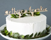 Custom Cake Topper - Simple Wooden Personalized Wedding Cake Topper - Custom Names Lasercut Wooden Cake Topper