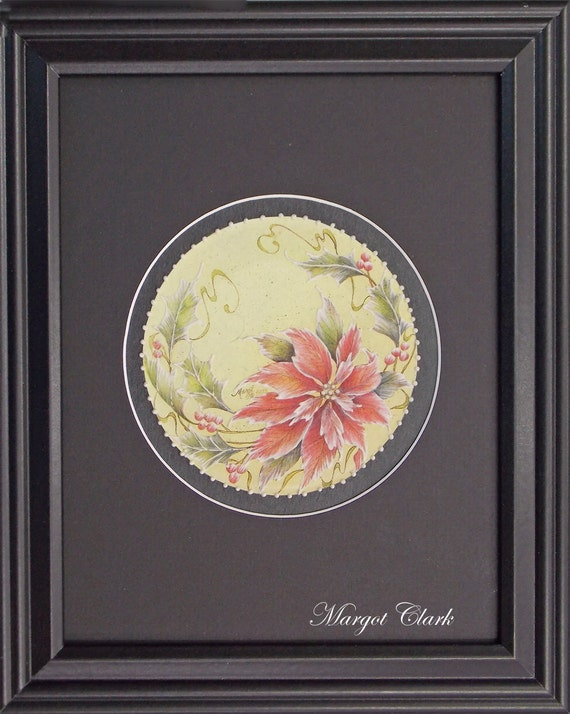 Red Round Poinsettia Framed
