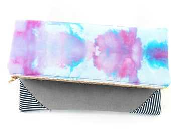Purple and Blue Dyed Clutch - Fold-Over Clutch | Hand_Dyed | Mixed Materials | Purple | Blue | Stripes